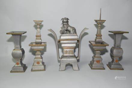 Set of Republic Chinese Pewter Religious Wares