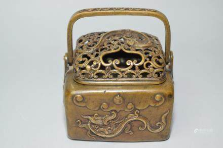 18-19th C. Chinese Brass Chi'long Hand Warmer