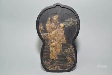 19-20th C. Chinese HuiZhou Style Ink Stone, Hu KaiWen