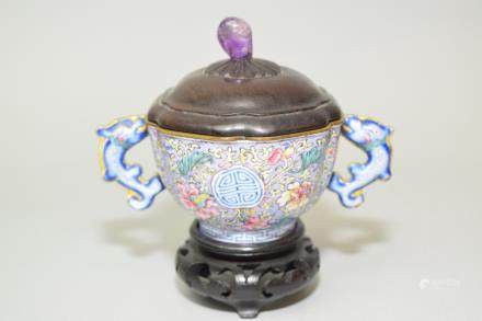 18-19th C. Chinese Enamel over Bronze Covered Cup