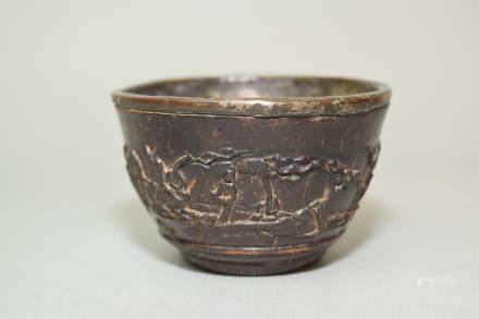 18-19th C. Chinese Relief Carved Coconut Shell Cup