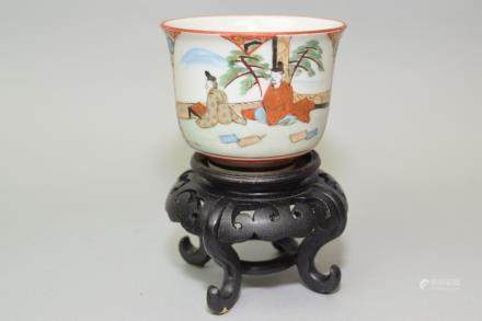 19th C. Japanese Kutani Figures Cup on Stand