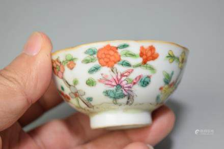Qing Chinese Famille Rose Flowers Cup