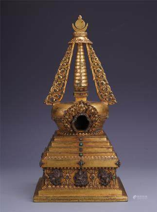 A  Chinese Carved Gilt Bronze Pagoda Inlaid with Treasure