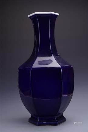 A Chinese Blue-glazed Hexagonal Bottle Vase