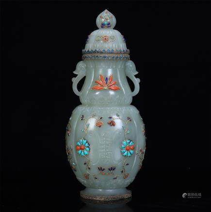 An Extremely Rare Jade Hindustan Vase Embellished with Treasures