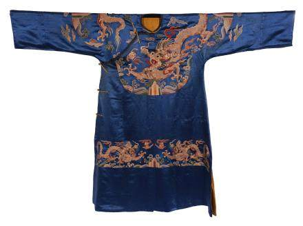 A Chinese Silk Embroidered Dragon Robe