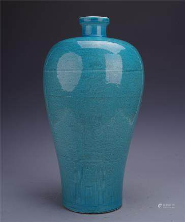 A Fine Chinese Blue-glazed Meiping Incised with Dragon