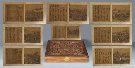 A Chinese Painting Alubm of Fourty Sceneries in the Old Summer Palace by Wang Youdun, ink on silk, 80 pages.