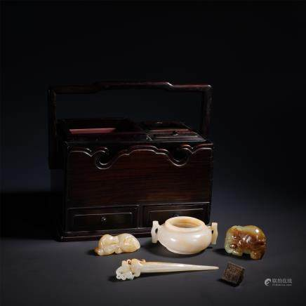 A Chinese Carved  Archaistic Jade Scholar Set