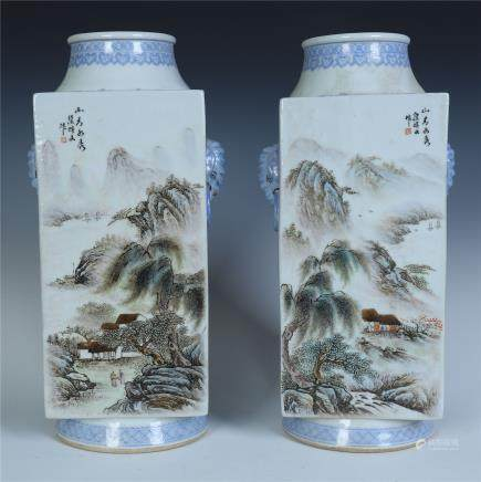 A Pair of Chinese Famille Rose Vase of Landscape by Zou Guojun