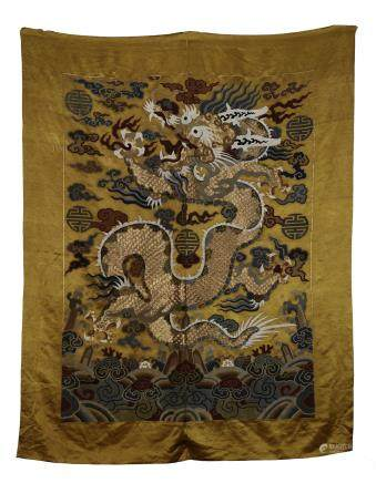 A Chinese Golden Thread Silk 'Dragon' Embroidery