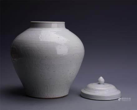 A Large Chinese White-glazed Jar