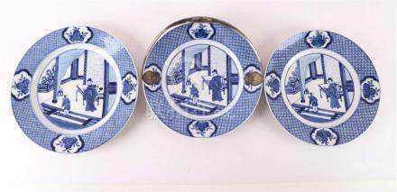 A porcelain dish with Kangxi decor and silver handle, around