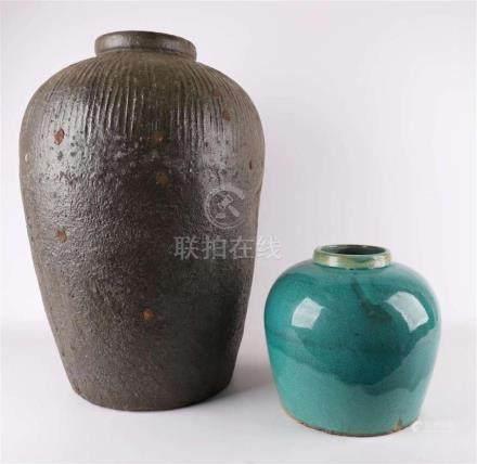 A brown glazed stoneware vase, China.
