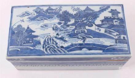A rectangular blue / white porcelain brush box, China 18th c