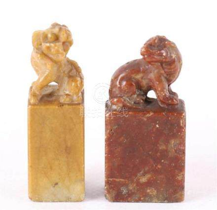 Two various soapstone lacquer stamps, China, around 1900.