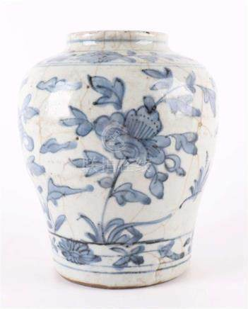A blue / white porcelain baluster-shaped vase, China, Swatow