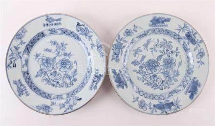 A pair of blue / white porcelain plates with capucin edge, C