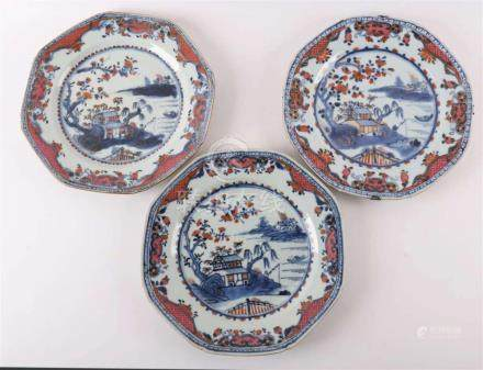 A series of three octogonal famille rose porcelain plates, C