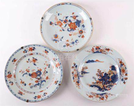 A series of three diverse Chinese Imari porcelain plates, Ch