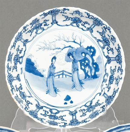 Blue and white plate in porcelain from East India Company, Q