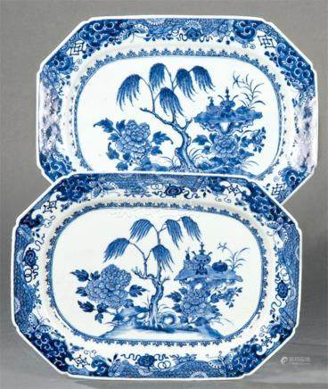 Pair of blue and white octagonal trays in porcelain from Eas