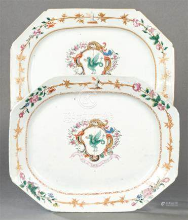 Pair of octagonal emblazoned dishes in porcelain from East I