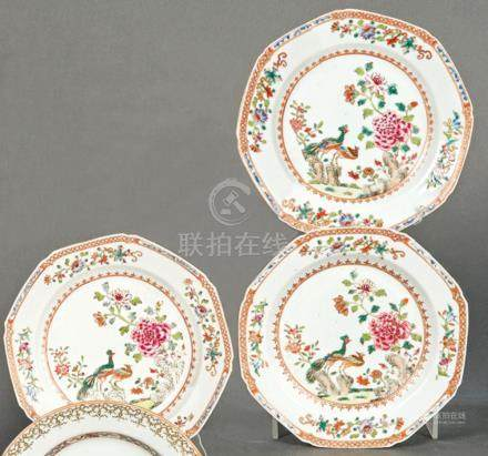 Three plates in porcelain from East India Company, Famille R