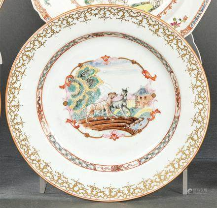Plate in porcelain from East India Company, with polychrome