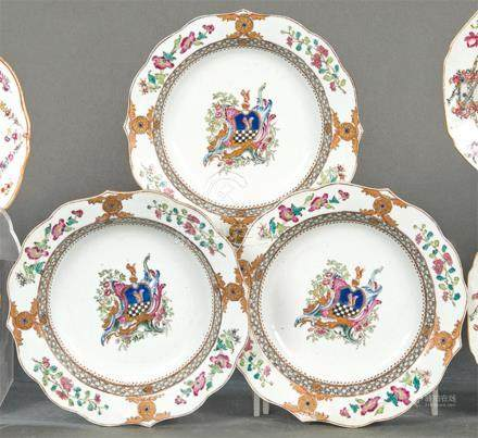 Three emblazoned bowls in porcelain from East India Company,