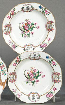 Pair of emblazoned bowls in porcelain from East India Compan