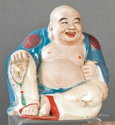 Ho-Shang Sentado in Chinese porcelain partially glazed and p