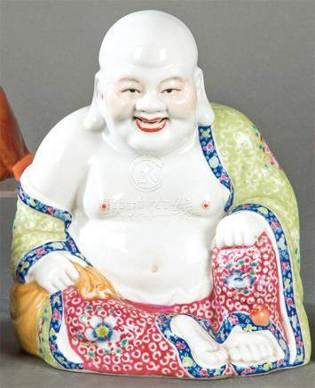 Ho-Shang in Chinese polychrome porcelain, mid 20th century.