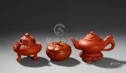 Chinese Three Yixing Teapots