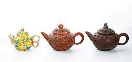 Chinese Three Chinese Yixing Teapots