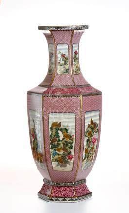 Chinese Famille Rose Hexagonal Vase