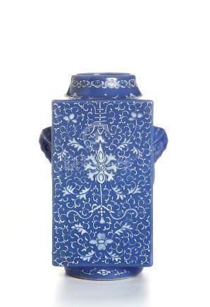 Chinese Blue Glazed Cong Vase