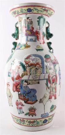 A baluster-shaped porcelain famille verte vase, China 20th c