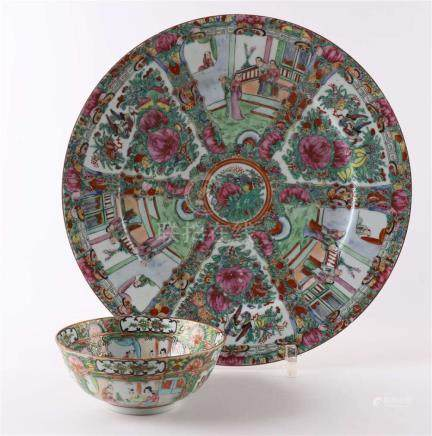 A Cantonese porcelain dish, China, early 20th century.