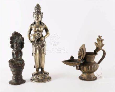A lot of miscellaneous, including bronze oil lamp, India, 20