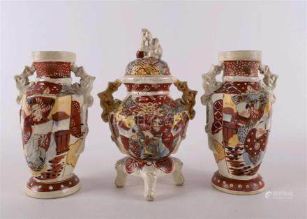 A set of Satsuma earthenware vases with ears, Japan, Meiji,