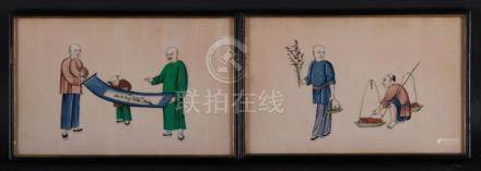A Pair Of Chinese Export Pith Paper Painting