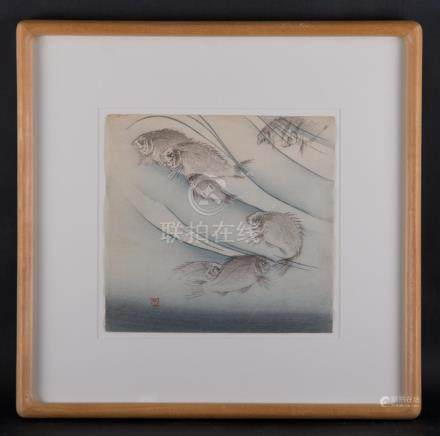 "Vintage Japanese Realist Original Watercolor ""Fishes"""