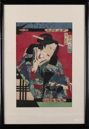 "Japanese Yokoyama Period woodblock ""Warrior"""