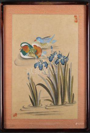 "Chinese Beatiful Decoration Watercolor ""Mandarin Ducks"""