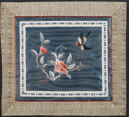 "Vintage Chinese Embroidery On Silk ""Swallows Return"""