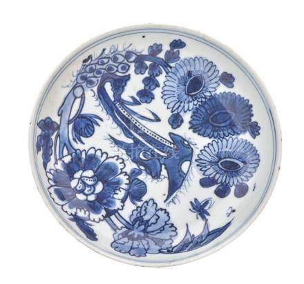 A BLUE AND WHITE DISH MING DYNASTY, WANLI PERIOD (2) 14.8 cm