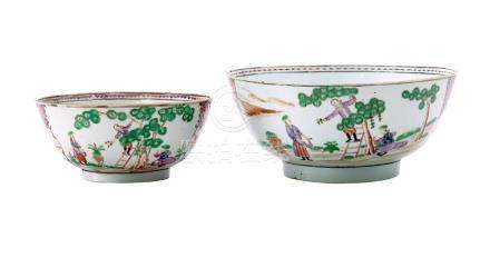 TWO FAMILLE-ROSE 'CHERRY PICKERS' BOWLS QING DYNASTY, QIANLO