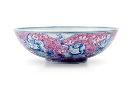 A PUCE-ENAMELLED BLUE AND WHITE 'EIGHT IMMORTALS' BOWL MARK